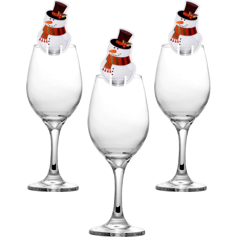30 Pièces Décorations en Verre de Vin de Noël Décoration de Carte de Verre de Table pour Articles de Fête (Bonhomme de Neige) Hicarer