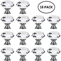 16 pcs Pomelli in Vetro Cristallo per Mobili Cassetti Armadi Manopole Trasparenti Maniglie 30mm