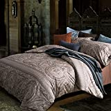 Duvet Cover Set Bedding Set Duvet Cover with 2 Pillow Shams 100% Cotton Egyptian Quality Hypoallergenic,Breathable Printed Brown - Full/Queen