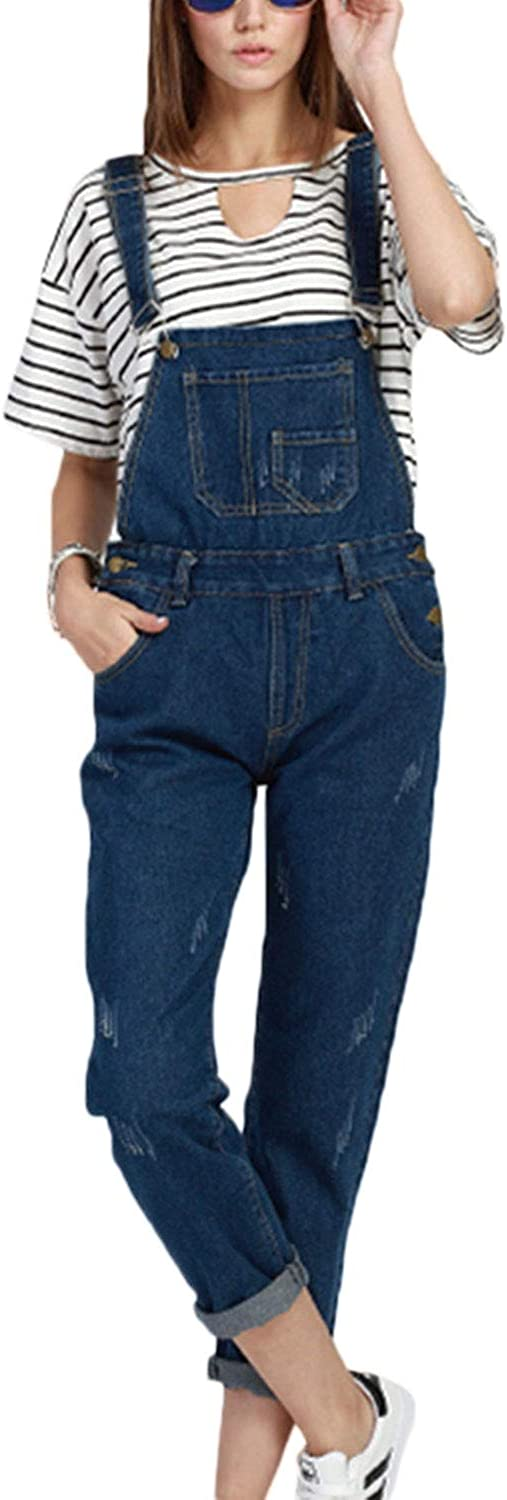 Fasumava Women Denim Jumpsuits Casual Dungarees Plus Size Overalls Jeans Playsuits with Pockets
