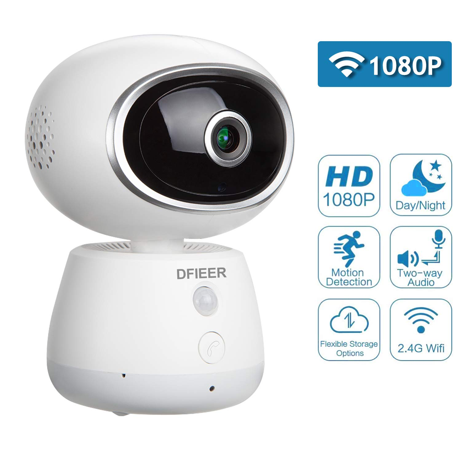 1080P HD Baby Pet Nanny Monitor, 360 Eyes Panoramic Remote Monitor Wireless WiFi IP Camera with Pan Tilt, Night Vision Indoor Home Security Cam with Motion Detection,Two-Way Audio, Cloud Storage