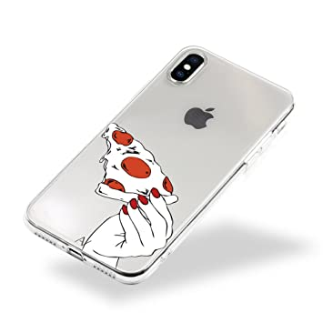 Funda iPhone X AVANA® Carcasa Transparente Slim Case Silicona TPU Cover Apple Caso Protectora Motivo (Pizza)