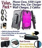 Value Pack + for 5.5'' ZTE Grand X3 grandx3 Warp 7 warp7 case Screen Protector Phone Case 360° Cover Clip Holster Kick Stand Armor Shock Bumper (Peach)