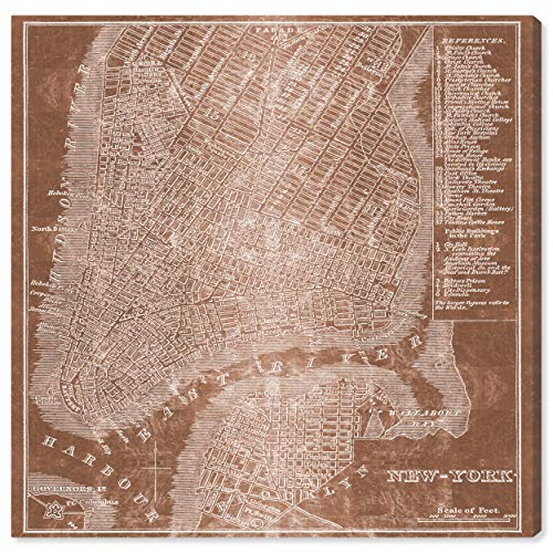 Cosmopolitan Maps Wall (Modern Copper Print of New York City Map on Canvas, 24