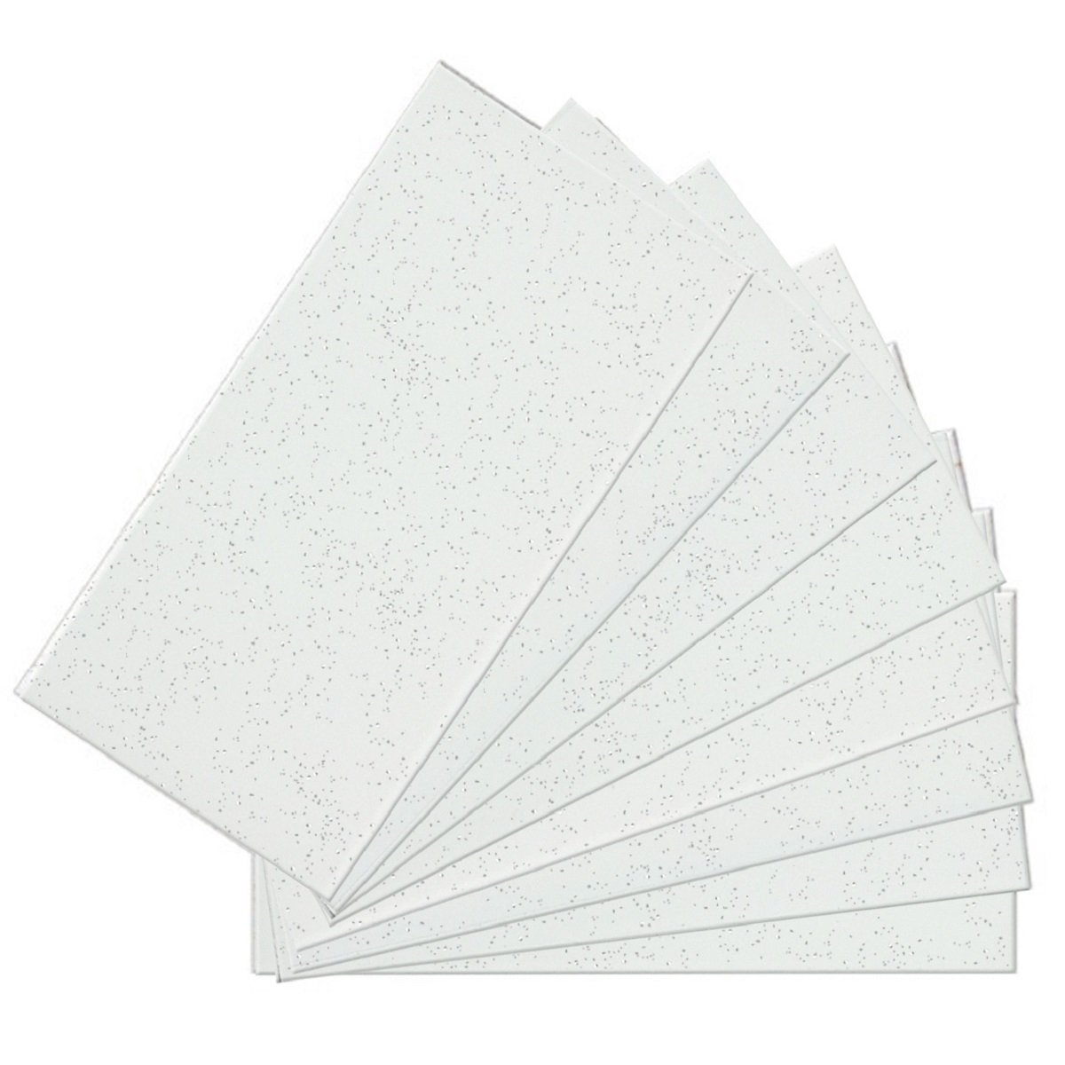 SkinnyTile 04414 Peel and Stick Glittered White Avalanche Glass Wall Tile (48-Pack), 6'' x 3''