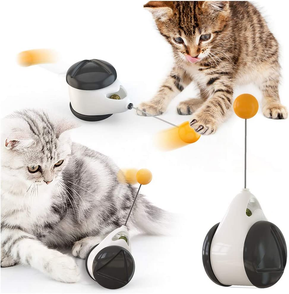 XIAOHONG Robotic Interactive Cat Toys with Antenna Sticks and Automatic 360 Degree Self Rotating Rolling Balls, Birds/Mice/Cat Tumbler Toy Ball Kitten IQ Training Ball,Build-in Catnip