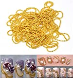 WellieSTR 11 Yards (Gold/1mm) Nail Art Tip Bead Chains Metal Glitter Striping Tape Ball Beads Chain Line Decorations 3D nail tools