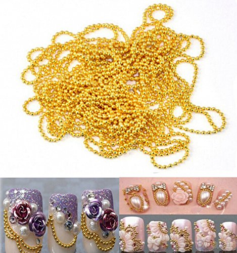 WellieSTR 11 Yards (Gold/1mm) Nail Art Tip Bead Chains Metal Glitter Striping Tape Ball Beads Chain Line Decorations 3D nail tools by WellieSTR