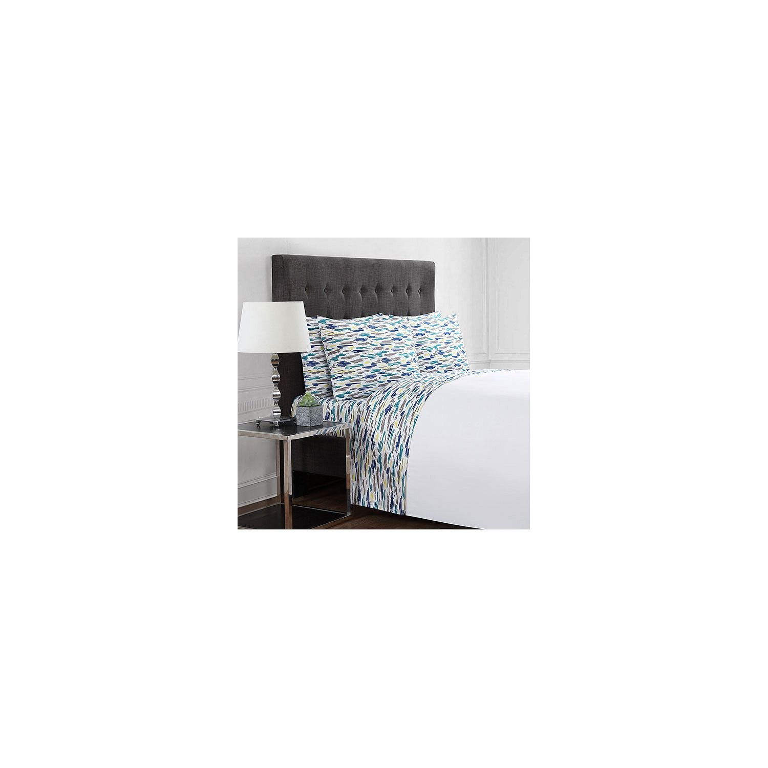 Christian Siriano 12 Piece Cal King Sheet Set Brush Stroke printed, Teal solid by Christian Brand
