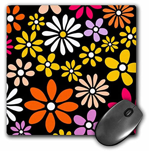 3dRose LLC 8 x 8 x 0.25 Inches Mouse Pad, Retro Flower Pattern White Yellow and Orange Daisy Flowers On Black 60S 70S Hippy Hippie Daisies (mp_112911_1)
