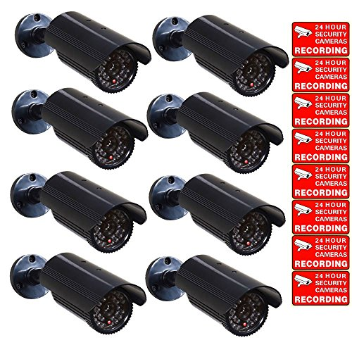 VideoSecu 8 x Fake Dummy Bullet Security Cameras Simulated Infrared LEDs with Blinking Light Home CCTV Surveillance (Best Videosecu Indoor Wireless Cameras)