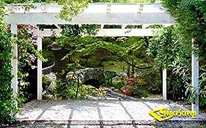 Garden Stone Bridge Patio Gazebo Backdrop Screen 9 Ft X 7 Ft Garden Outdoor