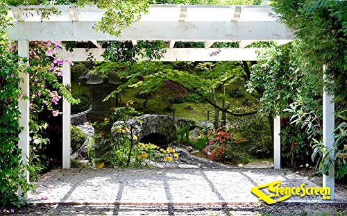 Garden & Stone Bridge Patio & Gazebo Backdrop Screen 9-ft. x 7-ft. by FenceScreen