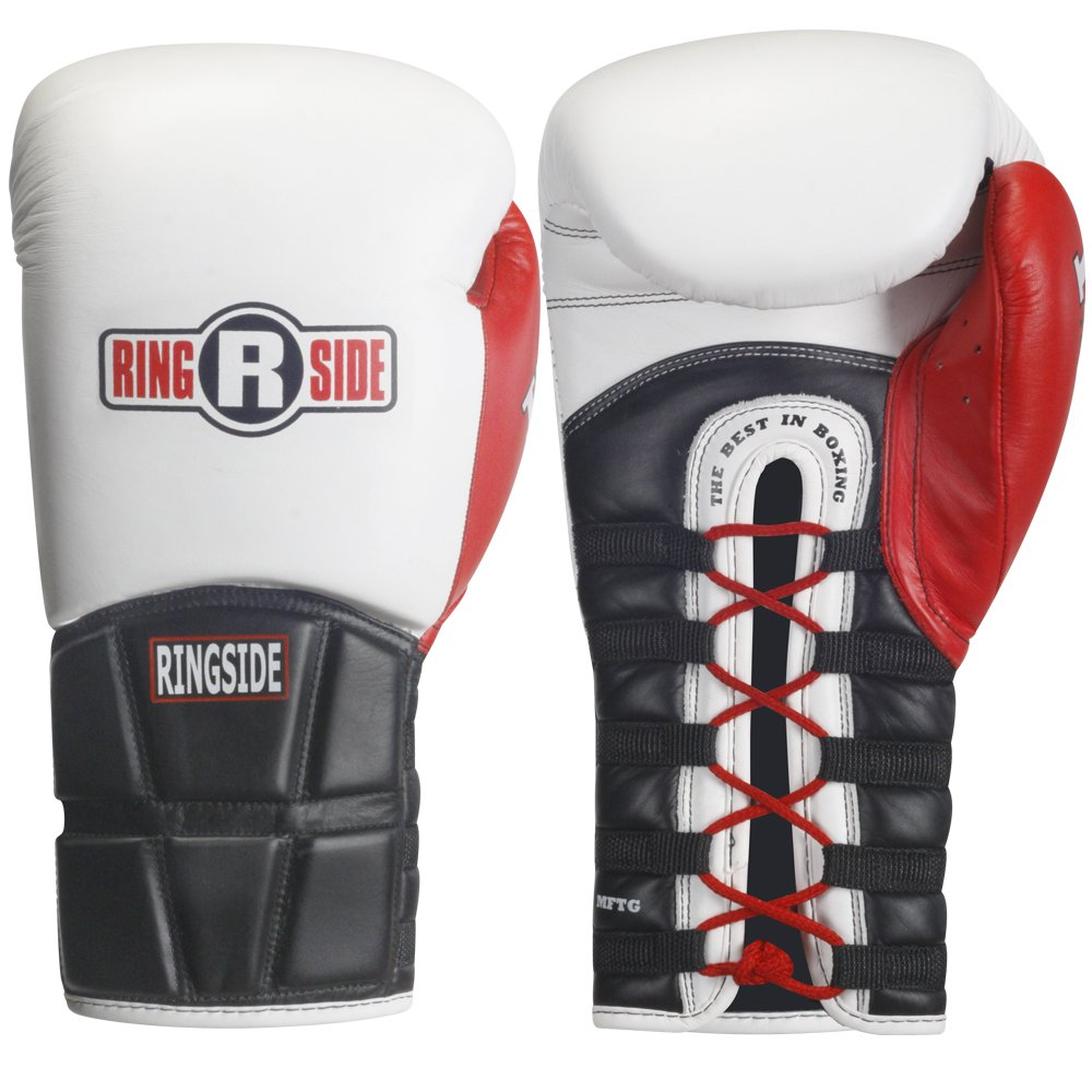 Ringside Lace IMF Tech Boxing Training Sparring Gloves PROMFTG BLACK14OZ-P