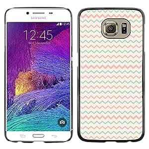 """Pulsar Snap-on Series Teléfono Carcasa Funda Case Caso para Samsung Galaxy S6 , Teal Pink Beige Patrón minimalista"""""""