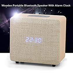 Samtronic Wooden Alarm Clock FM Radio with Bluetooth Speaker, Bluetooth Stereo Speaker with Bass AUX ,TF Card and USB MP3 Player Built-In Mic, Home Speakers for Bedroom, Outdoor, Office ,Kitchen-White