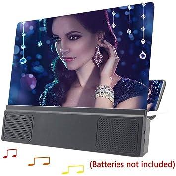 KJRJFD 12 pantalla del teléfono con altavoz Bluetooth lupa 3D ...
