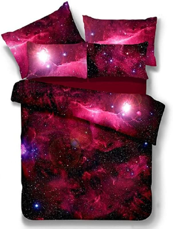 Ammybeddings 4 Piece Red Space Duvet Cover with 1 Sheet and 2 Pillow Shams,3D Red Galaxy Bedding Sets,Twin/Full/Queen/King,Red,Stylish Soft Duvet Cover Set Bedroom Decor (Extra Long Twin, Red)