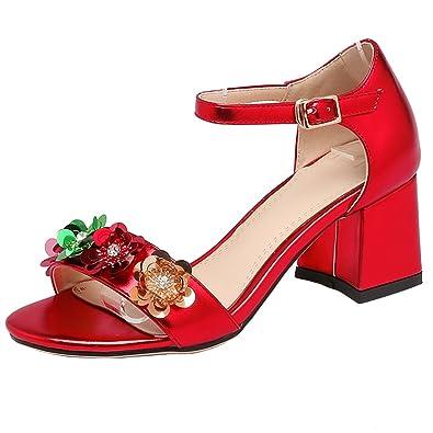 AIYOUMEI Damen Knöchelriemchen Sandalen mit 5cm Absatz und Blumen Blockabsatz High Heels Bequem Schuhe 0E0ujINTZ