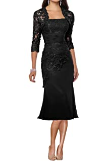 c2fcc902b72 DINGZAN 2018 Lace Sheath Mother of The Bride Dresses Tea Length with Half  Sleeves Jacket