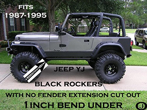 Fender Cut Outs (Jeep Yj Black Diamond Plate Side Rocker Panel with No Cut Outs & 1 Inch Bend)