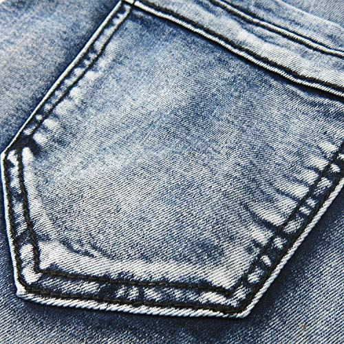 Stretch Mano Inserto Denim Vintage Asimmetrico Con Giovane Fit Jeans A Casual Uomo Realizzati Lavaggio T028 Da Slim SnTqIO