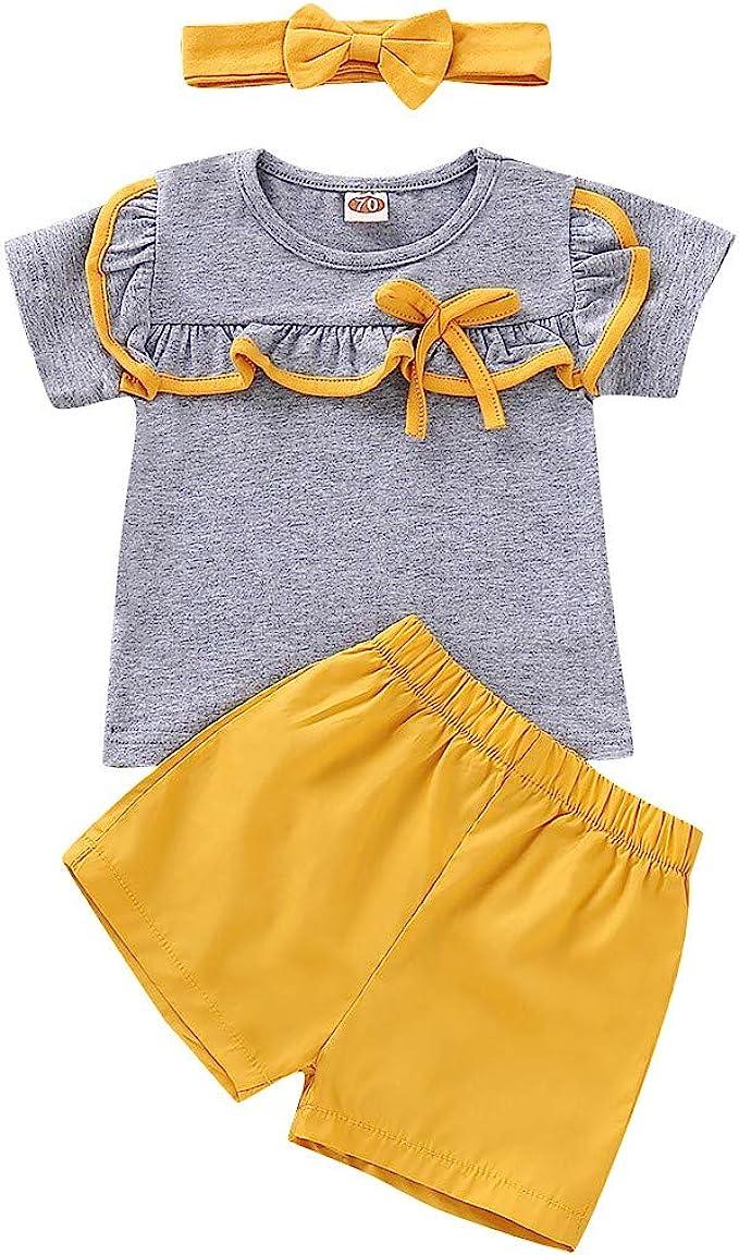Little Girl Princess Sets,Jchen Baby Kids Little Girl Off Shoulder Crop Tops Sunflower Print Denim Shorts Outfits for 0-4 Y