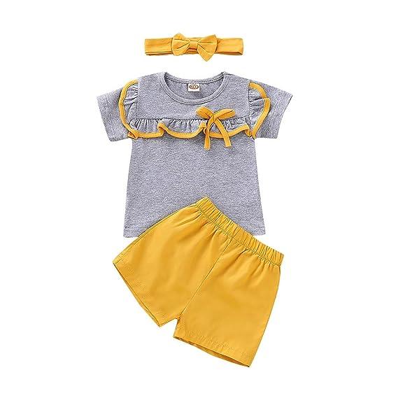 Subfamily Conjunto Mono bebé, Toddler Kids Baby Girl Ruffles Tops + Pantalones Cortos Cortos Conjunto de Trajes para el Cabello: Amazon.es: Ropa y ...