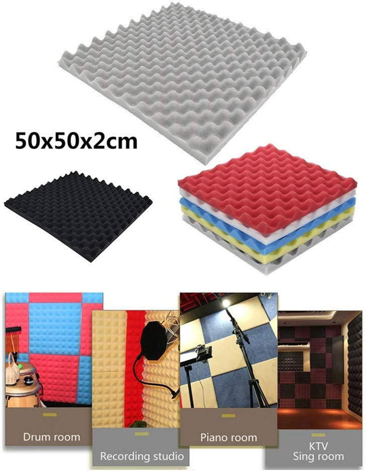 "Acoustic Absorption Panel Foam Panel Sound Stop Absorption Sponge Studio KTV Soundproof Padding Best for Home gary /""50x50x2CM/"" Large Area Foam Sound Absorption Wall Panels"