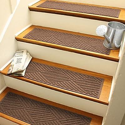Aqua Shield Diamonds Stair Treads, 8.5 by 30-Inch, Dark Brown, Set of 4