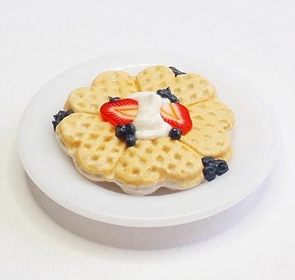 Dollhouse Miniatures Food Breakfast Waffle Mini Dessert Bread Handmade Set 5x