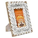 Indian Heritage Wooden Photo Frame 4x6 White and Silver Distress Finish Rustic