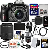 Pentax K-70 All Weather Wi-Fi Digital SLR Camera with 18-55mm AL WR & 55-300mm Lens + 64GB Card + Backpack + Flash + Battery + Tripod + Filters Kit