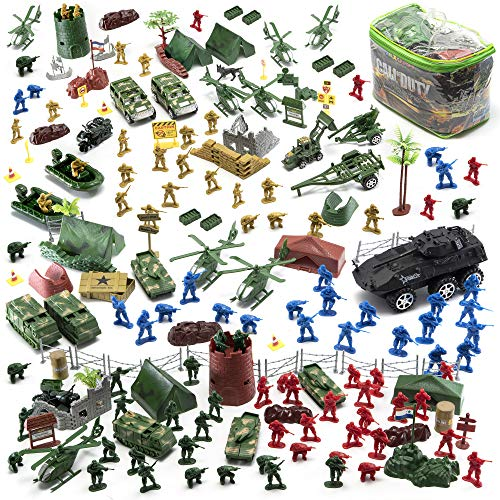 JaxoJoy 200-Piece Army Men Military Set – Cool Mini Action Figure Play Set w/ Soldiers, Vehicles, Aircraft & Boats – Pretend WWII Army Base & Military Toy Figurines for Boys
