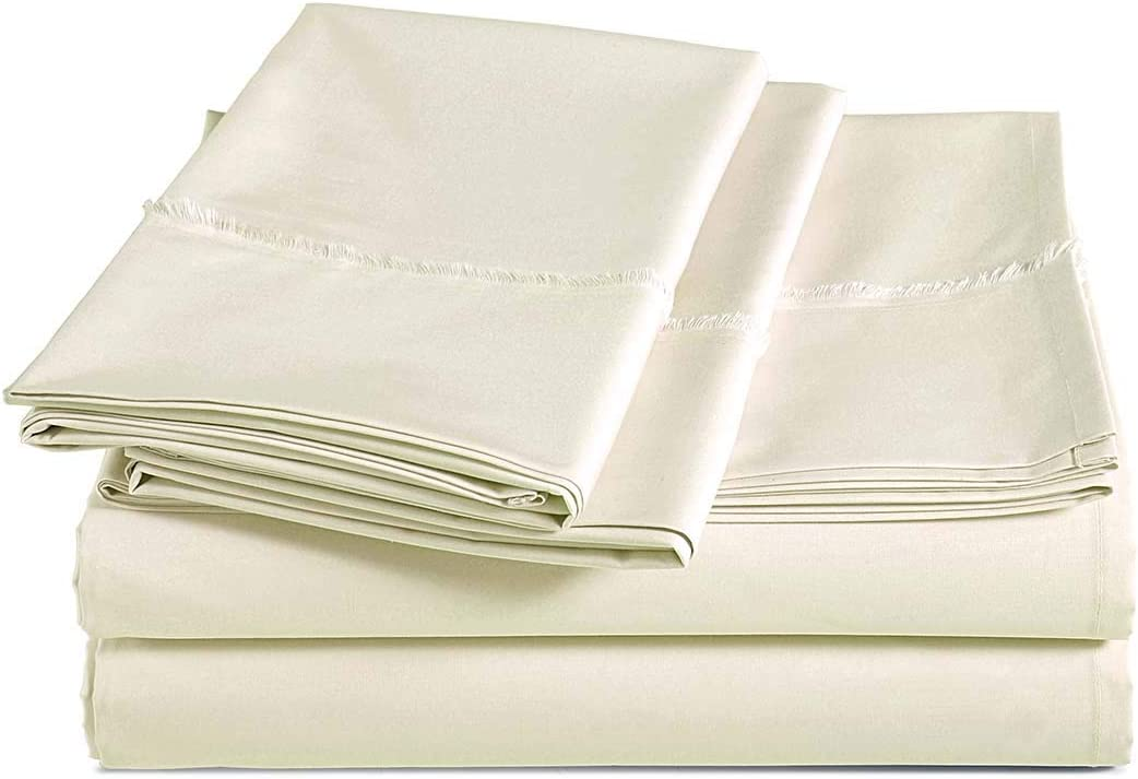 AmazonBasics Organic Percale Cotton Sheet Set with Frayed Hem - Queen, Linen