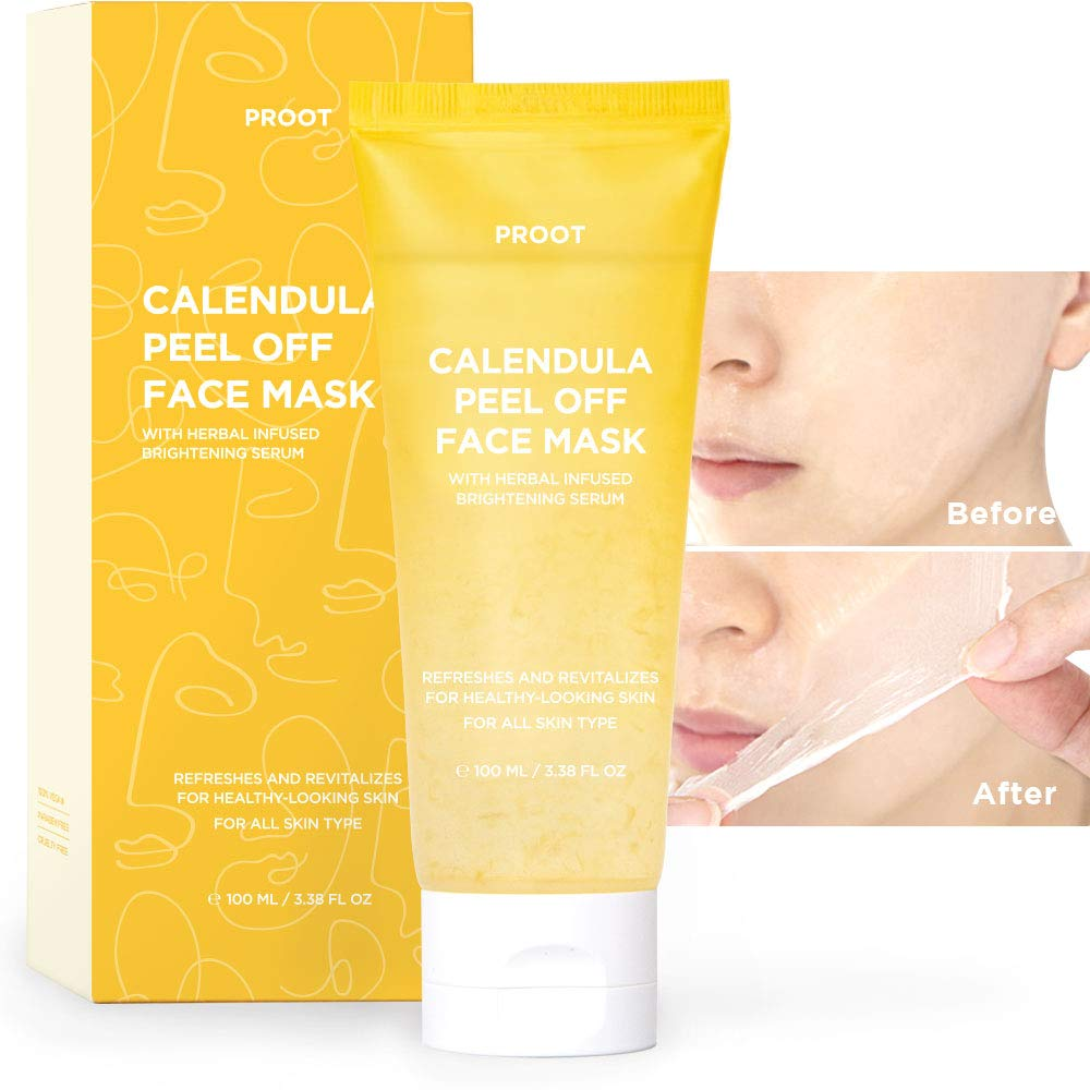 Calendula Peel Off Mask | With Herbal Infused Brightening Serum | Formulated with Real Calendula Flower Leaves and Extracts | Korean Skin Care, Vegan, Cruelty-Free | 3.38 oz