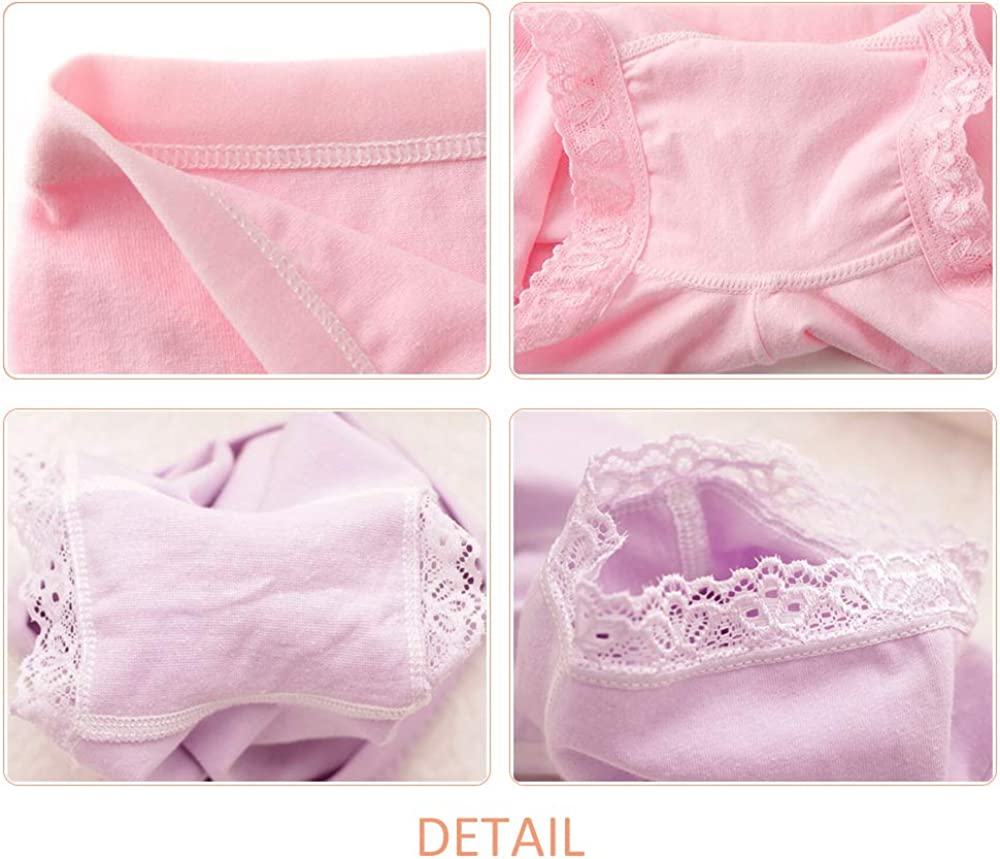 Safety Lace Trim Knickers Cotton Comfortable Soft Panties Boyshorts 4 Pack Size 2-10 Years ZEVONDA Girl Boxers Briefs