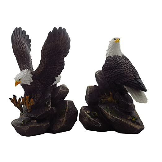 Amazon.com: American Bald Eagle Bookend Set Sculptures In Office And  Patriotic Home Decor, Bird Statues And Figurines By Home N Gifts: Home U0026  Kitchen