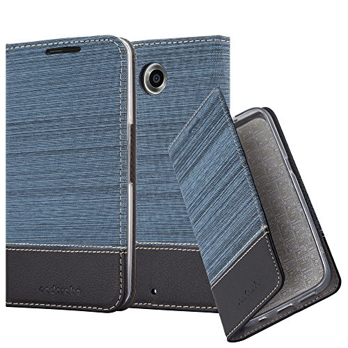 Cadorabo Book Case Works with Lenovo Google Nexus 6 / 6X in Dark Blue Black - with Magnetic Closure, Stand Function and Card Slot - Wallet Etui Cover Pouch PU Leather Flip