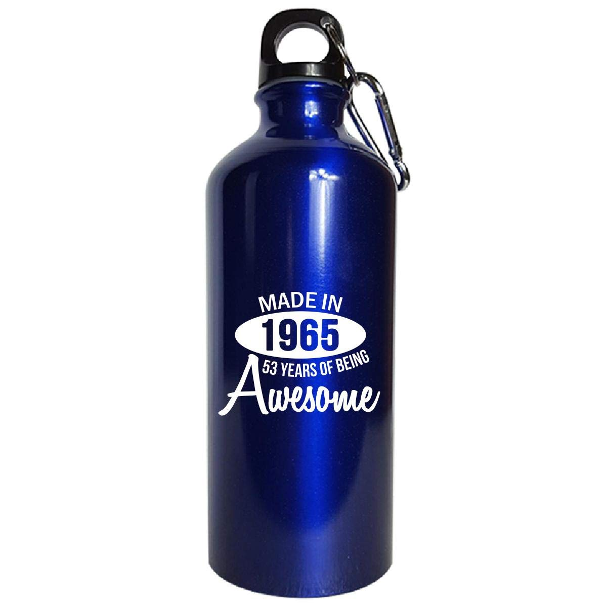 Made In 1965 53 Years Of Being Awesome 53rd Birthday Gift - Water Bottle Metallic Blue by Shirt Luv (Image #1)