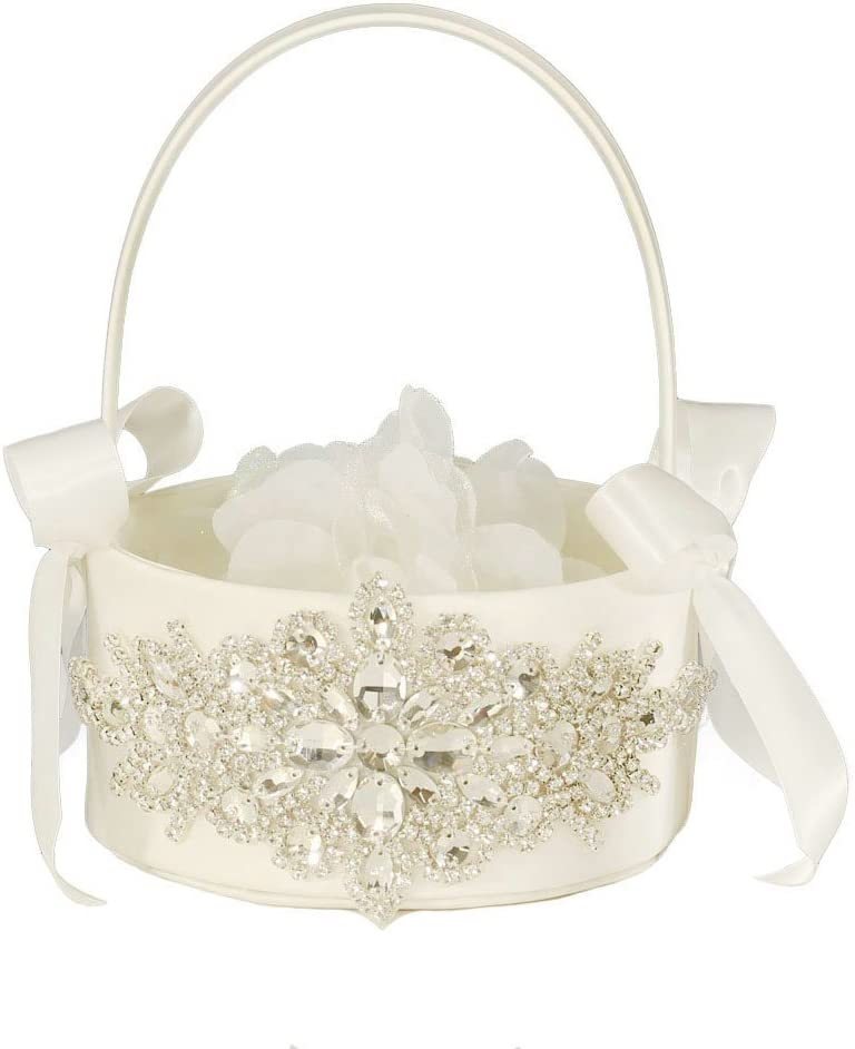 LAPUDA Beautiful Hand Beading of Wedding Flower Basket with Elegant Appearance and Ivory Color, Clusters of Stars Style (1 Basket)
