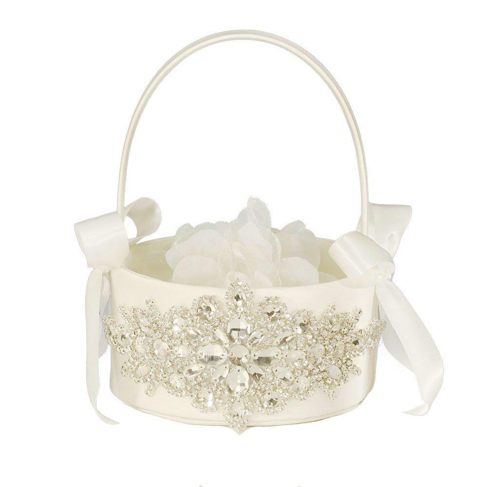 LAPUDA Flower basket series-Wedding Flower Basket, Flower Girl' Basket, Rhinestone Flower Basket (Ivory, Style HL0247)