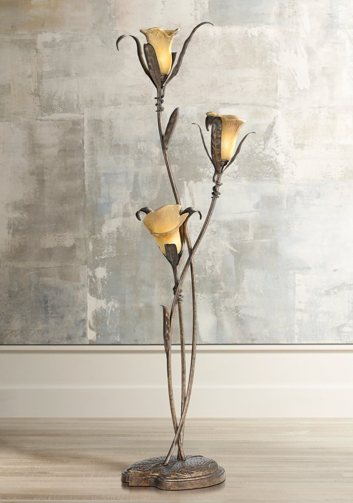 Attractive Franklin Iron Works Intertwined Lilies Floor Lamp - Video  FC49