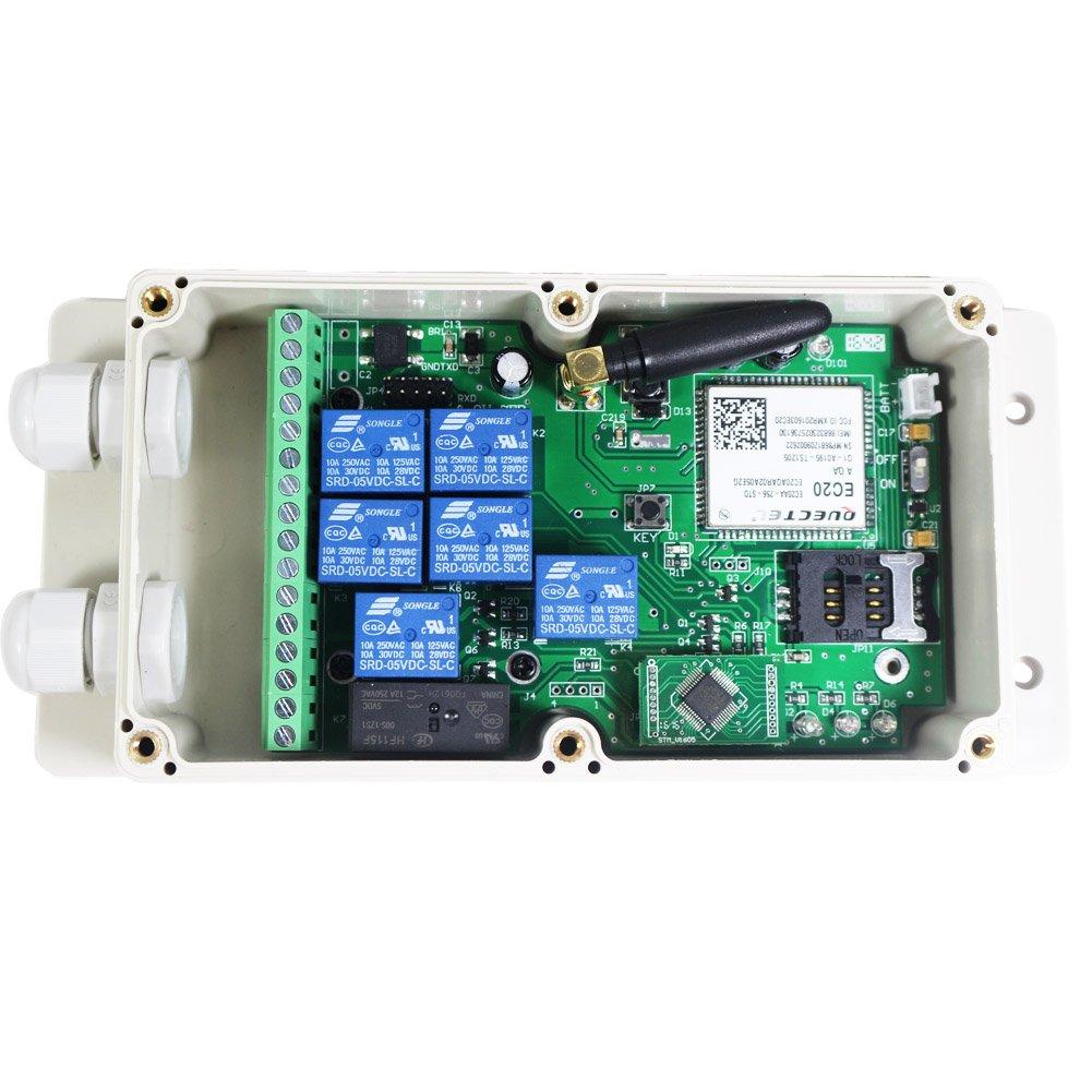 kiaotime gsm-relay-us4g nuevo Estados Unidos at & T 4 G 7 CH salida caja de interruptor de contacto de relé de control remoto GSM SMS IOS APP: Amazon.es: ...