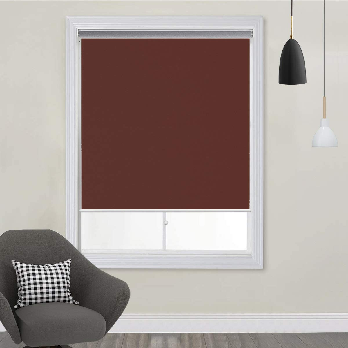 TFSKY Blackout Shades for Bedroom Outdoor Cordless Roller Blinds and Shades for Windows Blackout Window Blinds for Indoor Outdoor Use, UV Protection with Spring System Chocolate, 48×72