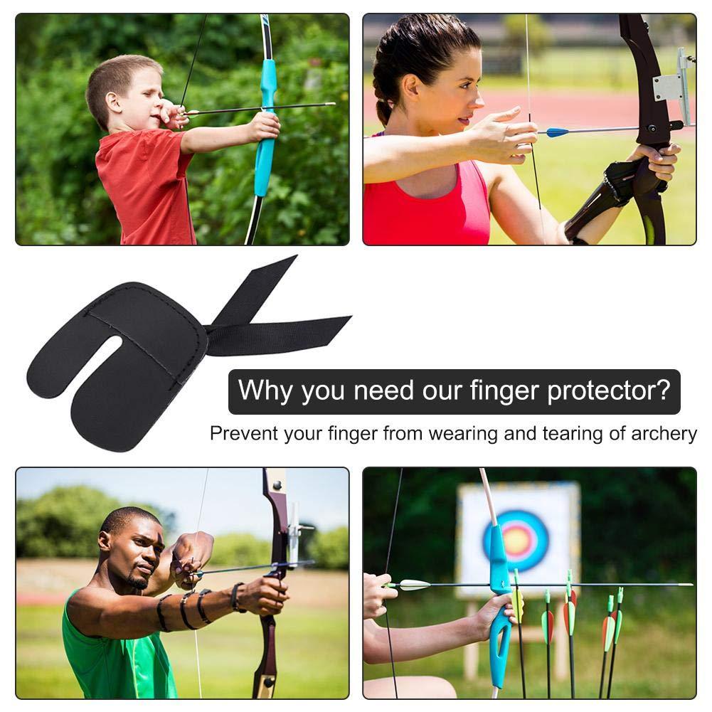 Tragbarer Recurve Bows Finger Saver Protector Aus Rindsleder Praktischer Bogenfingerschutz Archery Finger Tab Zum /Üben Und Jagen Auf Zielen Rutschfester