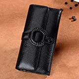 YOUTO Vintage Womens Wallet Leather Lady Wallet Handmade DIY Pu Leather Wallet-Glamour Lady Purse (Color : Black)