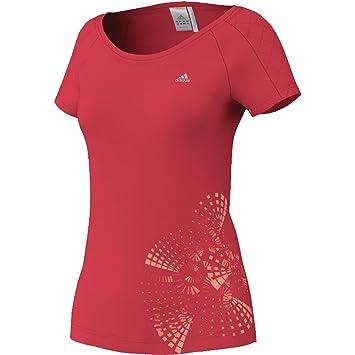 Adidas Mujer Climalite Camiseta de absorción de Humedad de Manga Cuello Redondo Cap, en Color