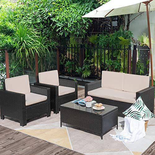 Flamaker 4 Pieces Outdoor Patio Furniture Sets Outdoor Conversation Set Poolside Lawn Chairs with Coffee Table for Poolside and Backyard (Black)