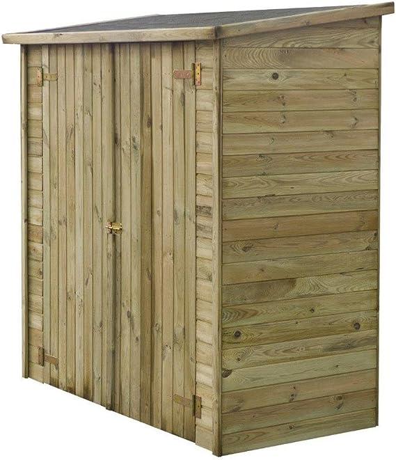 Caseta de jardín adosada LIPKI - 1.79 x 0.90 x 1.76/1.86 m - 1.62 m² - Sin Suelo: Amazon.es: Jardín